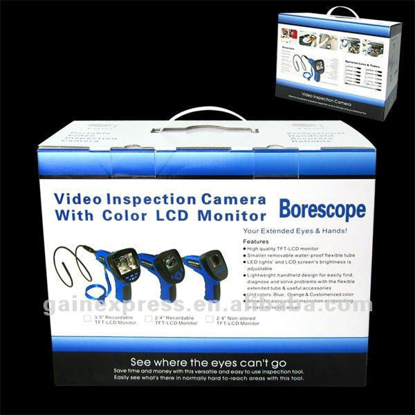 "C0599E_1M_8.5mm Industrial 3.5"" Endoscope 8.5mm dia. Video & Sound Recording Borescope w/ Mic SD 2GB"