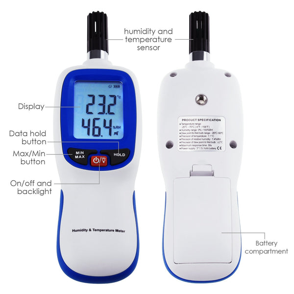 HTM-49 Gain Express Digital Humidity & Temperature Meter Hygrometer Psychrometer, Dew point and Wet-bulb Temperature range -20~70°C, Humidity range 0~100%RH, Min/Max Hold, LCD Backlight