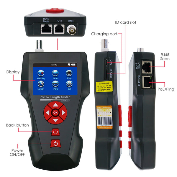 NF-8601 Digital Cable Length Tester RJ45 RJ11 BNC Coax Network, with Free TF Card, handheld Cable Tester Wire Tracker POE PING Ethernet Tester, STP/UTP 5E, 6E