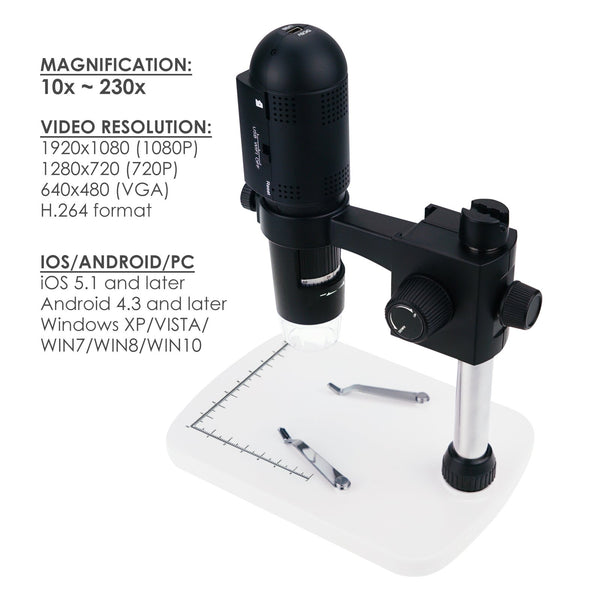 MSC-55 Gain Express 1080P Full HD USB Wifi Digital Microscope 10x-220x Magnification for iOS/ Andriod/ PC with 6 LED, 3 Mega Pixels, Adjustable Focus, Handheld & Desktop Compatible Wireless Rechargeable