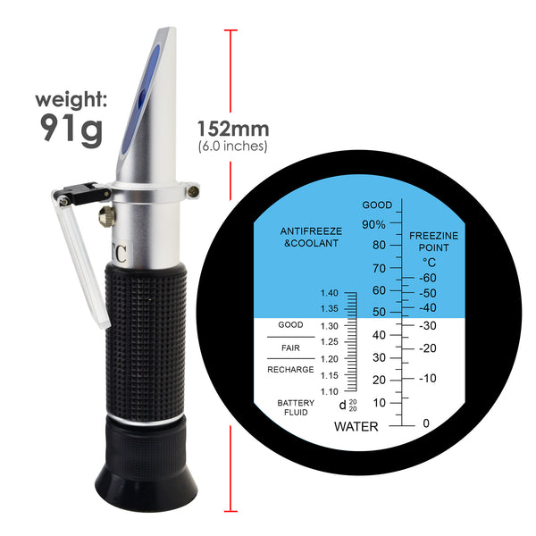REA-503EATC Automotive Refractometer, Ethylene glycol: -60~0°C and 0~100%, Battery Fluid  1.10~1.40kg/l