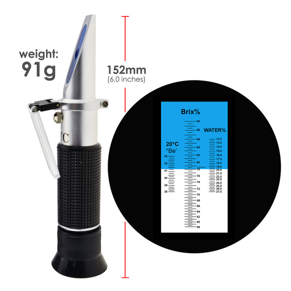 REB-90ATC  3-in-1 Honey Refractometer Brix/Moisture/Baume Tester ATC, Tri-Scale 58-90%/12-27%/38-43Be', Sugar Water Content Level Beekeeping Maple Syrup