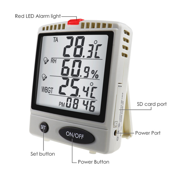 AZ87797 WBGT SD Card Datalogger Temperature Humidity Meter  Desktop / Wallmount