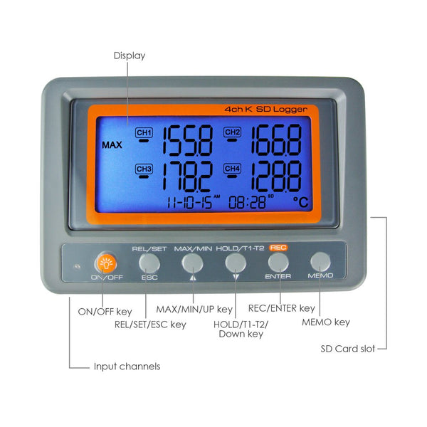 88598 Digital 4 Channels K-type Thermocouple SD card Logger