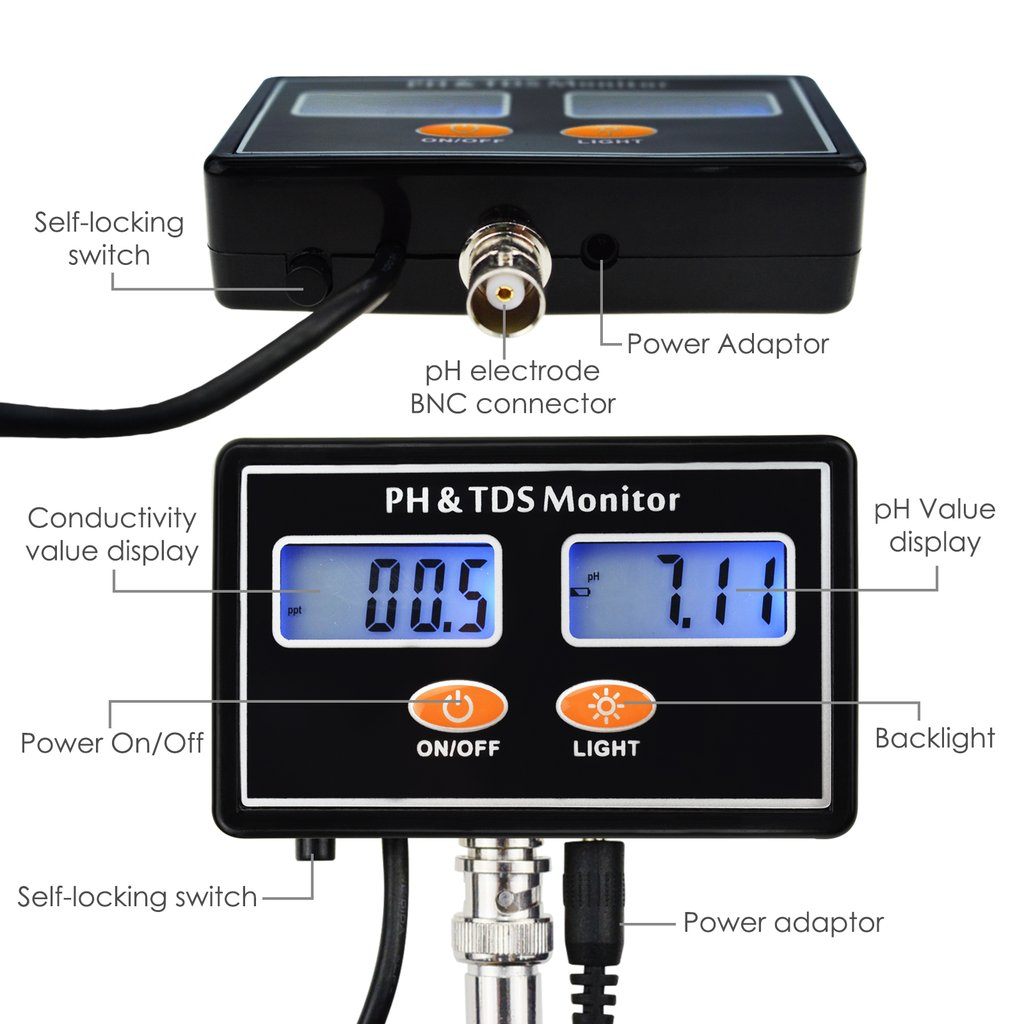 Tds 232 Digital Combo Ph Monitor Meter Tester Atc 0001400 Ec With Temperature Dual Display Backlight Ez 2b