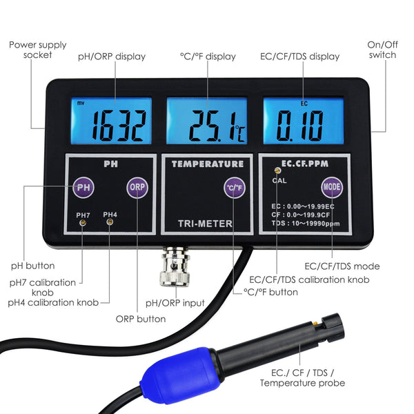 WQM-243 6 in 1 Multi-parameter pH/ ORP Redox/ EC/ CF/ TDS PPM/ Temperature Multi-function Water Quality Monitor Tester