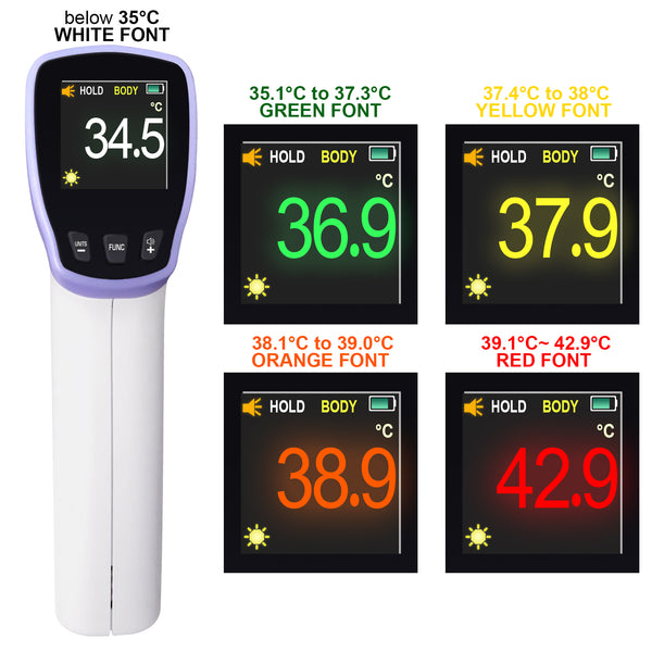 HT20 Digital Infrared Forehead Thermometer Non-Contact Body Temperature Meter with Fever Alert / Data Storage / Colored LED Display