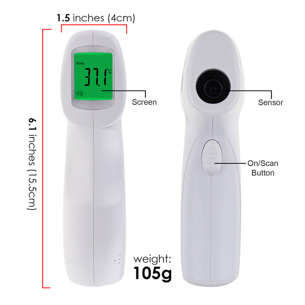 THE-293 Forehead Body Human Adult Infant Infrared Thermometer 32 Memory FDA Approved Temperature Tester Colored Backlight Fever Indicator