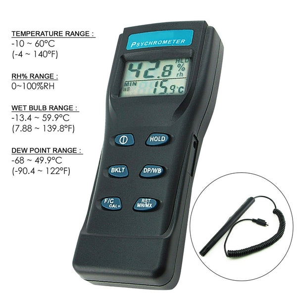 8723 Digital Air Thermo-Hygrometer / Psychrometer / Humidity Wet Bulb