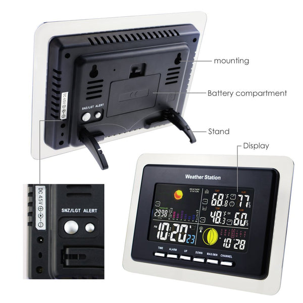 WS-104_EU_3S Weather Station Indoor Outdoor Temperature Humidity DCF / WWVB 3 Wireless Remote Sensors