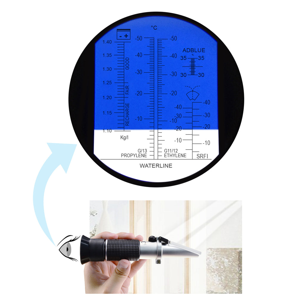 REA-503ABATC 6-in-1 Automotive Car Refractometer ATC for Adblue/ Antifreeze/ Battery Acid/ Windshield Fluid, Propylene Ethylene Glycol Cleaning Coolant Charge Specific Gravity Density Condition