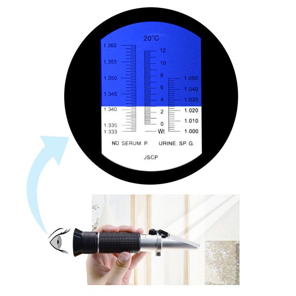 REC-200ATC Tri Scale Clinical Refractometer with ATC 0~12g/100ml Serum protein, 1~1.050, 1.333 ~ 1.360 RI for Veterinary Dog Cat
