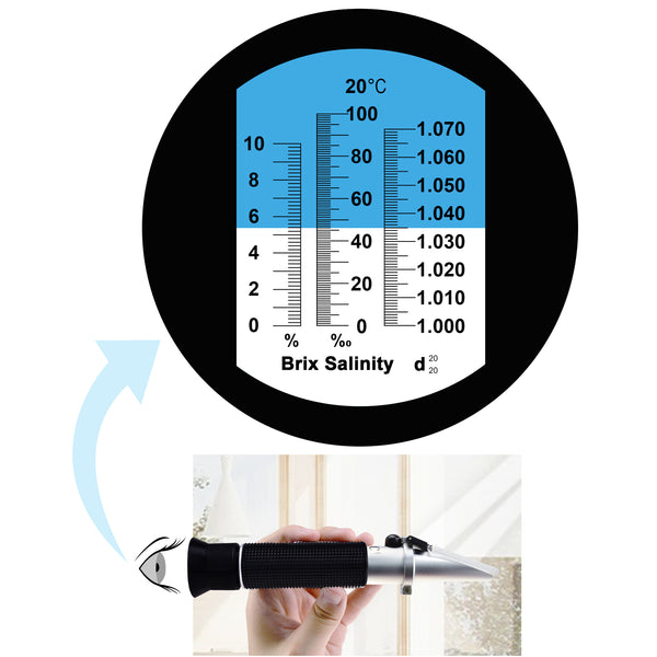 REBS-10ATC Tri-Scale Optics Refractometer ATC 0-10% Brix, Salinity 100 PPT , Density 1.000 to 1.070 g/cm3 & Salinity for CNC Cutting Liquid Coolant Salt Sea Water Aquarium Tank Marine