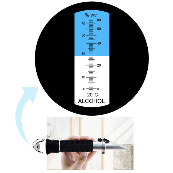 REW-80ATC Alcohol Refractometer Dual Scale with ATC 0~80% Range for Wine Making Winemakers