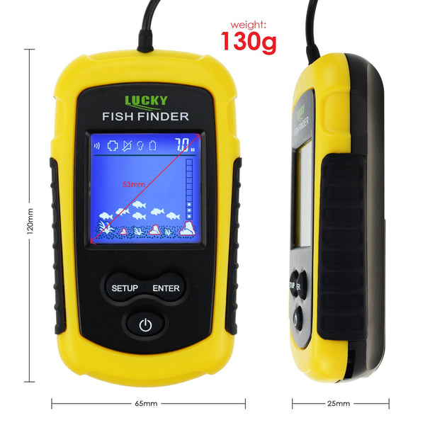 FFC-1108-1 Lucky Portable Fish Finder Sonar, TN/ Anti-UV LCD Display with Clear LED Backlight for Night Fishing 100M (328ft) Depth Detection