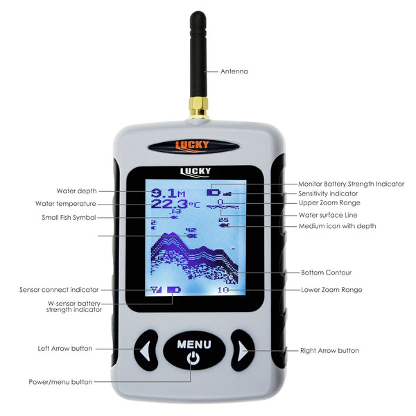 FFW-718LA Lucky Wireless Fish Finder Rechargeable Locator 45M Depth 150M Wireless Sonar Sensor
