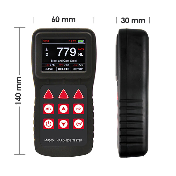 MH600 Mitech MH600 170~960 HLD Chinese-English Portable 6 impact devices IP65 Metal Leeb Hardness Tester Meter Gauge All Metallic Material with Carrying Case