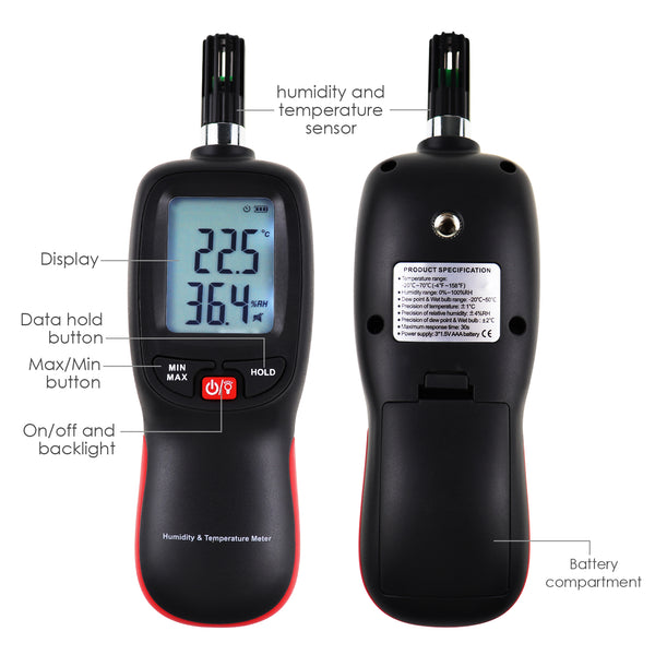 HTM-278 Digital Humidity Temperature Meter Psychrometer Thermo-Hygrometer