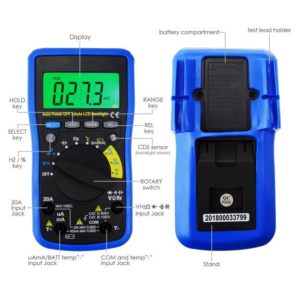 MUL-210 Digital Auto Range Autoranging DMM Multimeter - with Auto LCD Backlight, Overload Protection