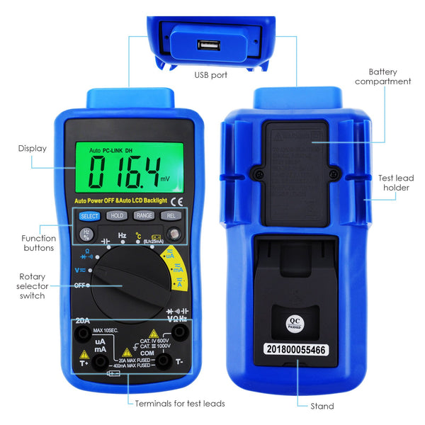 MUL-211 Digital DMM Multimeter Tester with USB/ Software CD and Data Output Function