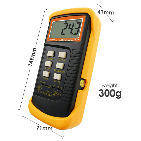 68022_2P Digital 2 Channels K-Type Thermometer w/ 4 Thermocouples (Wired & Stainless Steel), -50~1300°C (-58~2372°F)