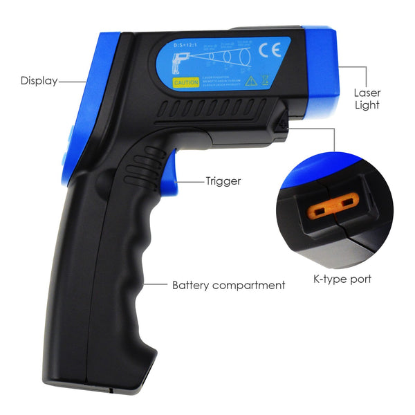 THE-218 K-type Non Contact Lasergrip Infrared IR Thermometer -30 ~ 550°C (-22~1022°F) Thermocouple