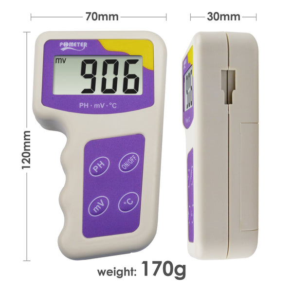 ORP-235 pH mV ORP Temperature 3 in 1 Redox Meter, Removable Electrode Water Quality Tester for Hydroponic Aquarium Fish Tank