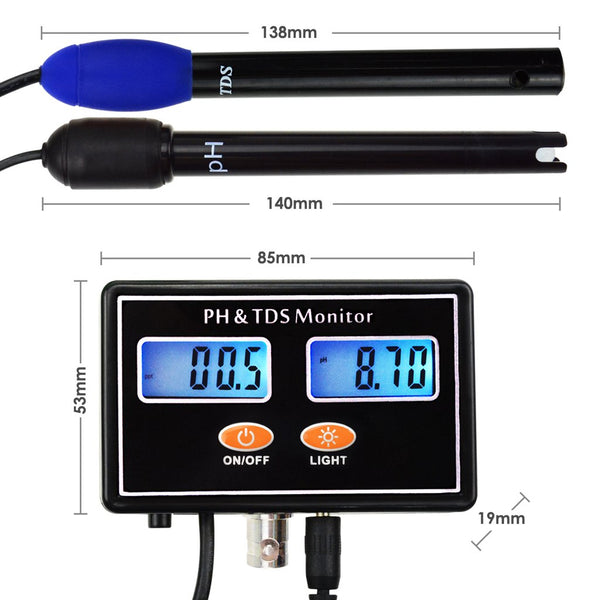 TDS-232 Digital Combo pH & TDS Monitor Meter Tester ATC, 0.00~14.00pH & 0.0~199.9ppt Rechargeable Real-time Monitoring