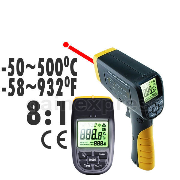 6520 Digital Infrared IR Laser Thermometer -50~500°C ( -58~932°F ) Spot-Ratio 8:1