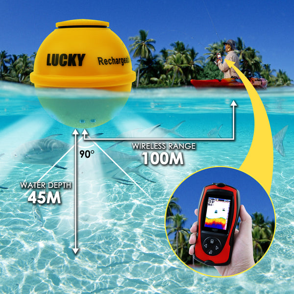 FF-1108-1CWLA Lucky Wireless Fish Finder with Fish Attractive Light Lamp Rechargeable 45M Depth 100M Sonar Sensor