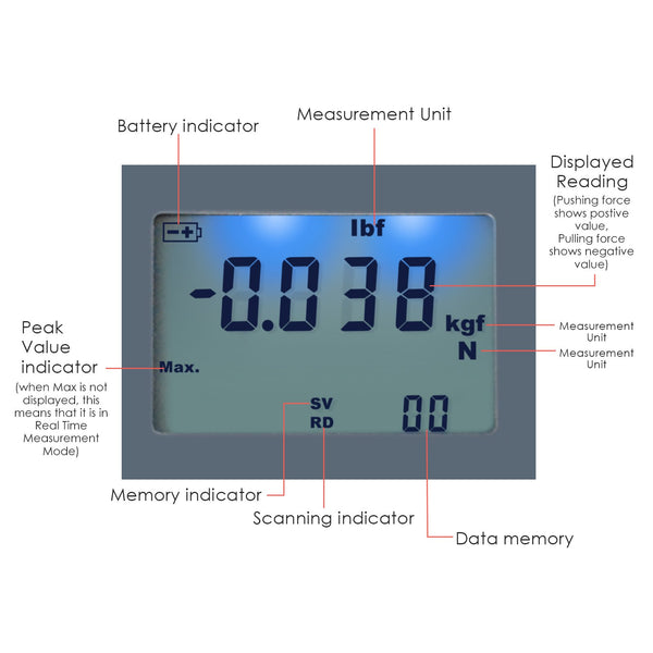 FM-207 Digital Force Meter Gauge Pull & Push Magnitude Tester Newtonmeter Newton N / kg / lb / g Measurement