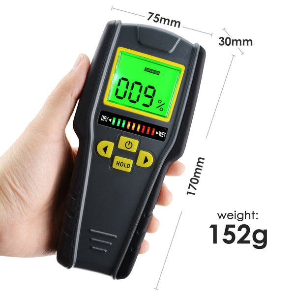 KC-318 Digital Pinless Non-invasive Inductive Moisture Meter Hard Soft Wood Drywall Masonry Scanner