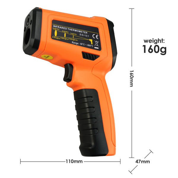 THE-222 Non-contact Infrared IR Laser Thermometer K-Type Thermocouple -50~800°C / -58~1472°F Color Display Gun-Type with Alarm
