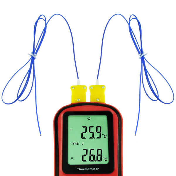 THE-32 Digital K / J / T / E / R / S / N Type Thermocouple Thermometer Dual-channel -150~1767°C (-238~3212°F)