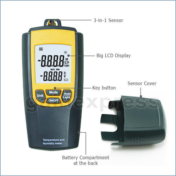 VA-8010 Digital Air Temperature Humidity Meter Thermometer °C / °F Tester w/ Dew Point CE Marking LCD Display