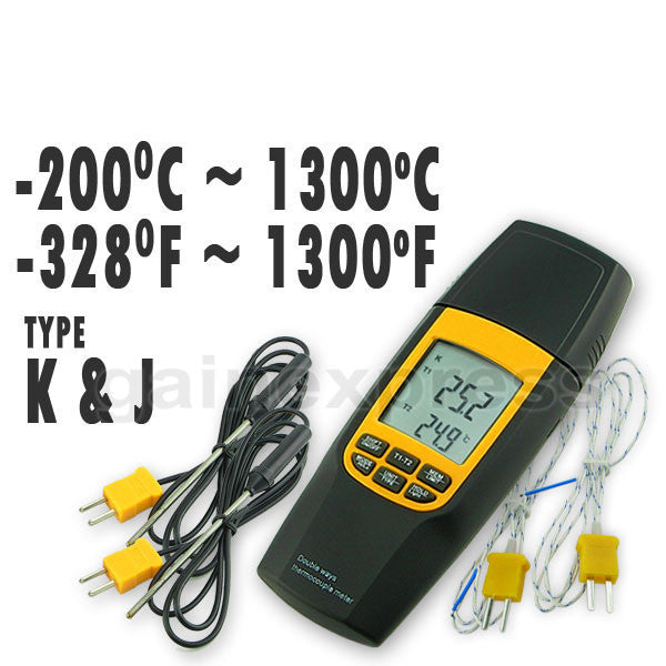 VA-8060 Digital K or J Type Thermocouple Thermometer, Dual-channel LCD Backlight Temperature Meter Tester with 2 extra Metal Probe
