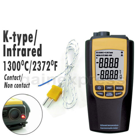 8090 Digital Non-contact Infrared & K-Type Digital Thermometer Thermocouple