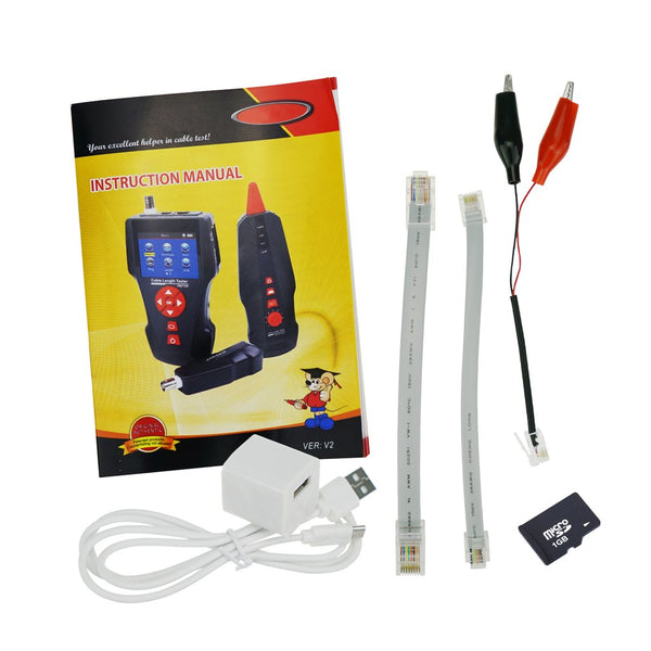 NF-8601W Digital Cable Tester Wire Tracker RJ45 RJ11 BNC Cable Length, with FREE TF Card, Handheld Tester with 8 Remote Identifier PoE PING Data Storage Function and Port Flash
