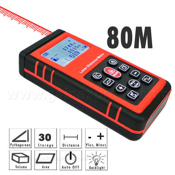 A02AR891 Laser Distance Meter Measure Area Volume 0.3 ~ 80m Range Finder