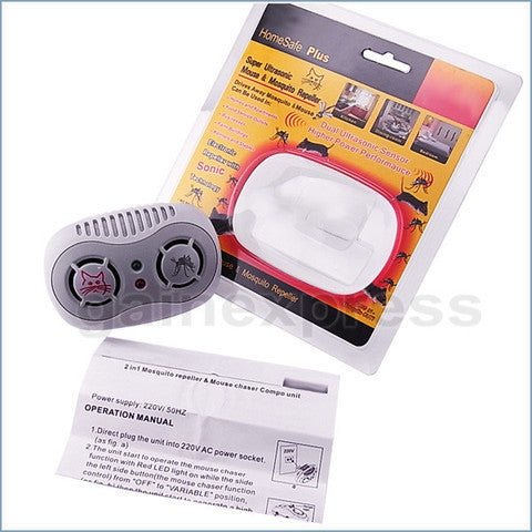 AR-166-220V Electronic Ultrasonic Mouse Mosquito Repeller 50/60Hz
