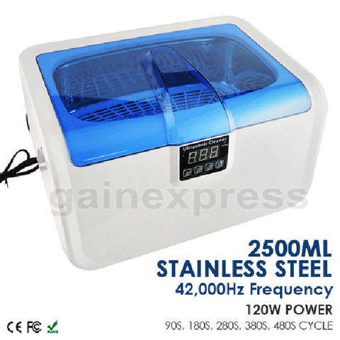 CE-7200A Stainless Steel 2.5L Ultrasonic Cleaner Heater Jewelry Watches Dentures w/ Timer 220V ONLY