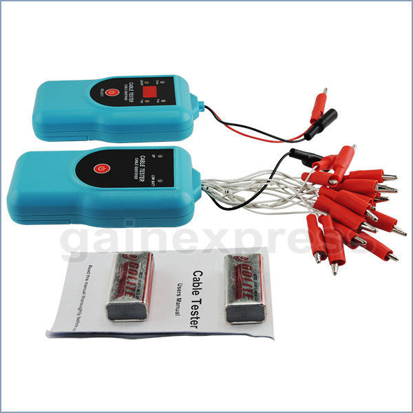 E04-031 Transmitter & Receiver Cable Tester Identifier Alligator Clip Test DC Voltage Continuity