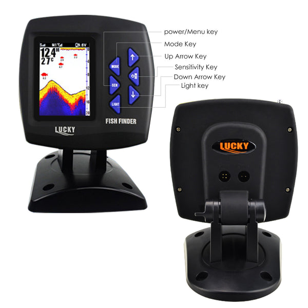 FF-918_CWLS LUCKY Color Display Boat Fish Finder Wireless Remote Control 300m/ 980ft Fishing Wireless Operating Range, 100m Depth Range, With Zoom Function, Shallow & Fish Alarm, Salt & Fresh Water, Ocean, Sea, River, Lake, Icy Water