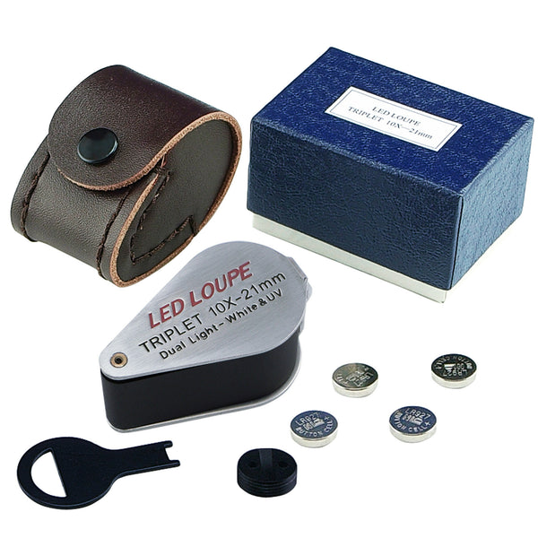 GM11 Mini 10X Jeweler Loupe Magnifier + LED & UV light, 21mm lens