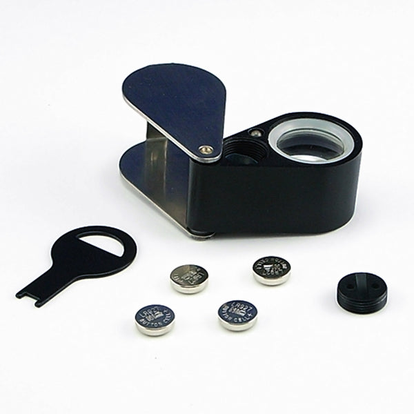GM31 Mini 30X Jeweler Loupe Magnifier + LED & UV light 21mm lens