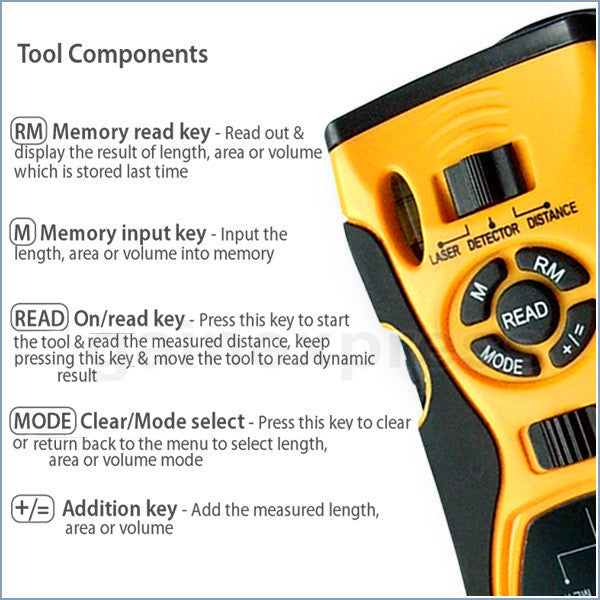 CK-109_yellow 5in1 Distance Meter Stud Metal Live Wire Detector & Laser Marker