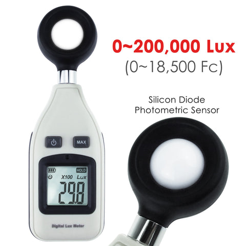 LUX-31 Digital Light Mini Lux Meter Measurement Range 0 ~ 200,000 LUX / 0 ~ 18,500 FC, Portable Instrument, Auto Range