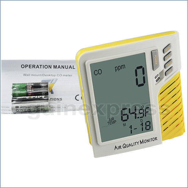 M0198101 Digital Wall mount/Desktop 0~9999ppm CO Monitor Temperature Tester Made in Taiwan
