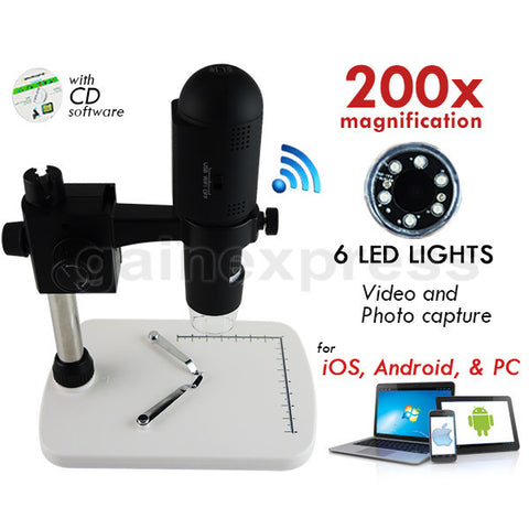 M05-001 WIFI USB Microscope 200x Zoom 6 LED IOS Android PC Video Photo Rechargeable Li-ion Battery
