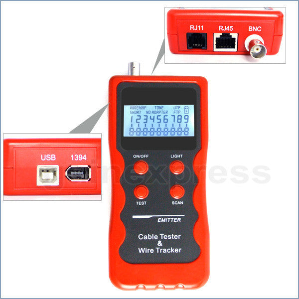 N03NF-838 Network Cable Tester RJ45 RJ11 BNC 1394 Line Phone Wire Tracker